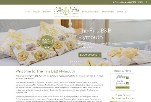 Website design in Plymouth The Firs B&B website