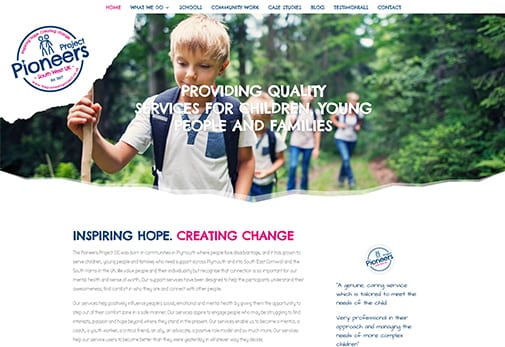 Recent Work - Pioneers Project, Plymouth - New Website