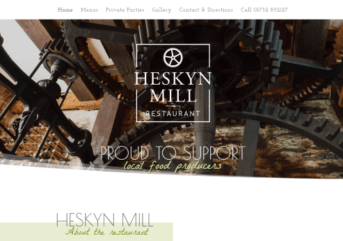 Recent Work - Heskyn Mill Restaurant in Tideford, near Saltash, Cornwall - New Website