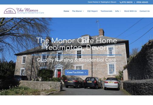 Recent work web design development - The Manor Care Home Yealmpton, Devon website home page