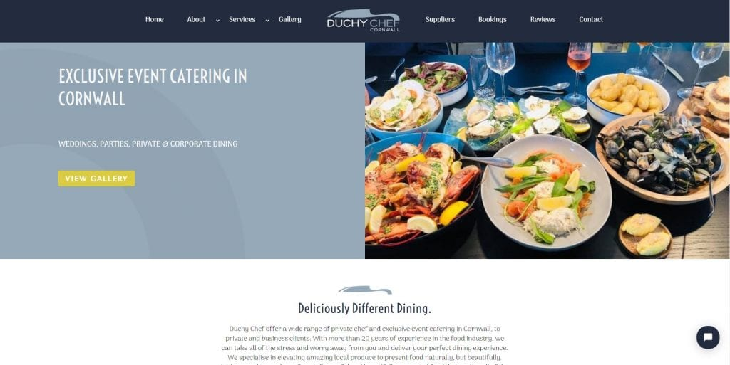 Image of the Duchy Chef homepage.