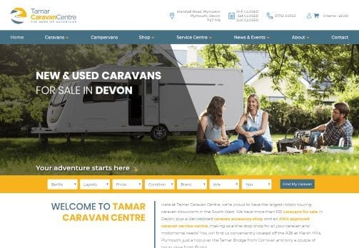 Image of the newly designed Tamar Caravan Centre homepage.
