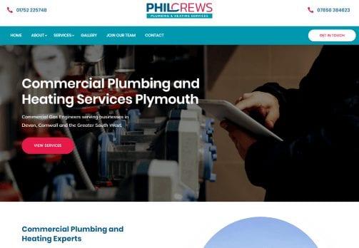 Recent work web design development - Phil Crews Commercial Gas Services- new website home page