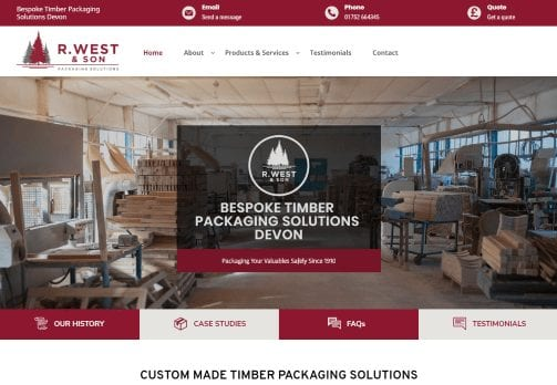 Website design in Plymouth - R West & Son - new website home page