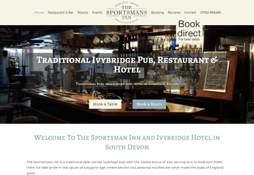 Recent work web design development - The Sportsmans Inn Ivybridge - new website home page