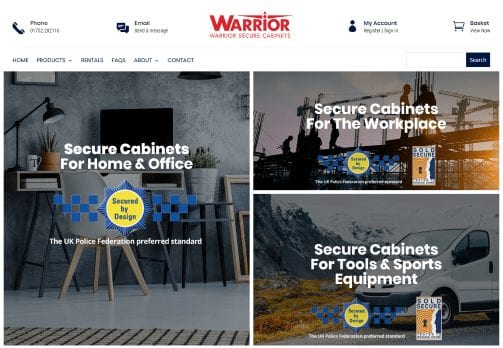 Website design in plymouth - Warrior Secure Cabinets - new e-commerce website home page