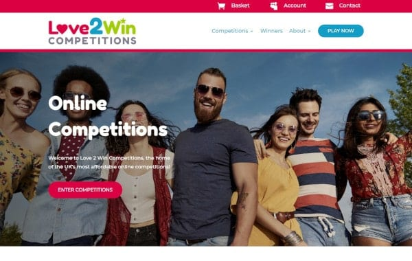 Website Design and Development - An image of the Love2Win homepage - Web Design and SEO Company