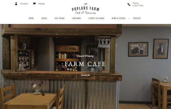 Website Design and Development - An image of the Poplars Farm Cafe homepage - Web Design and SEO Company