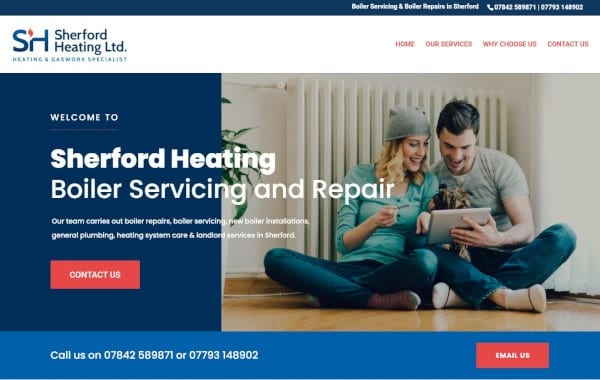 Website Design and Development - An image of the Sherford Heating homepage - Web Design and SEO Company