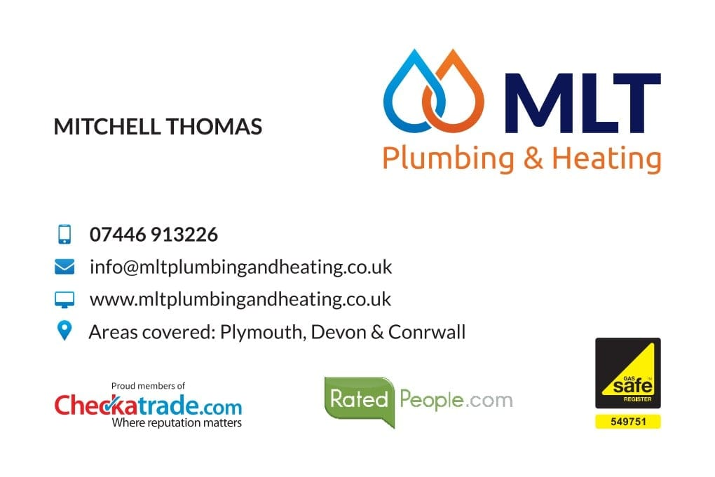 Business Stationery Design Plymouth - MLT Plumbing and Heating Front - Web Design and SEO Company