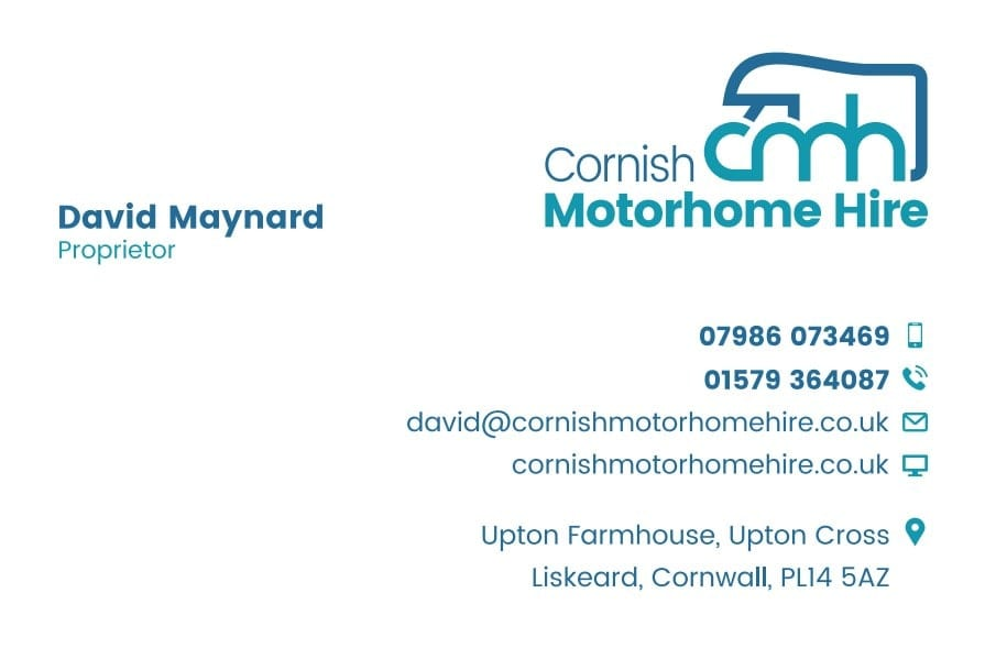 Business Stationery Design Plymouth - Cornish Motorhome Hire Front - Web Design and SEO Company