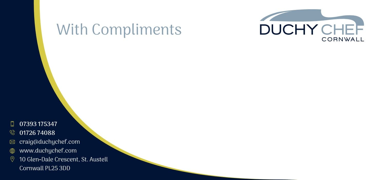 Business Stationery Design Plymouth - Duchy Chef Comp Slip - Web Design and SEO Company