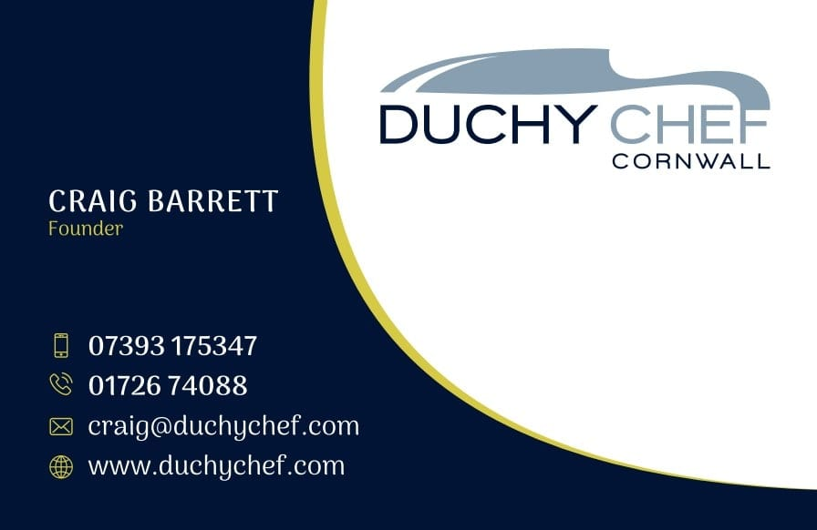 Business Stationery Design Plymouth: Front side of the Duchy Chef business card