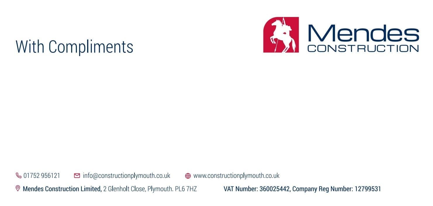 Business Stationery Design Plymouth - Mendes Construction Compliment Slip - Web Design and SEO Company