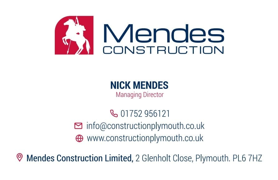Business Stationery Design Plymouth - Mendes Construction Front - Web Design and SEO Company