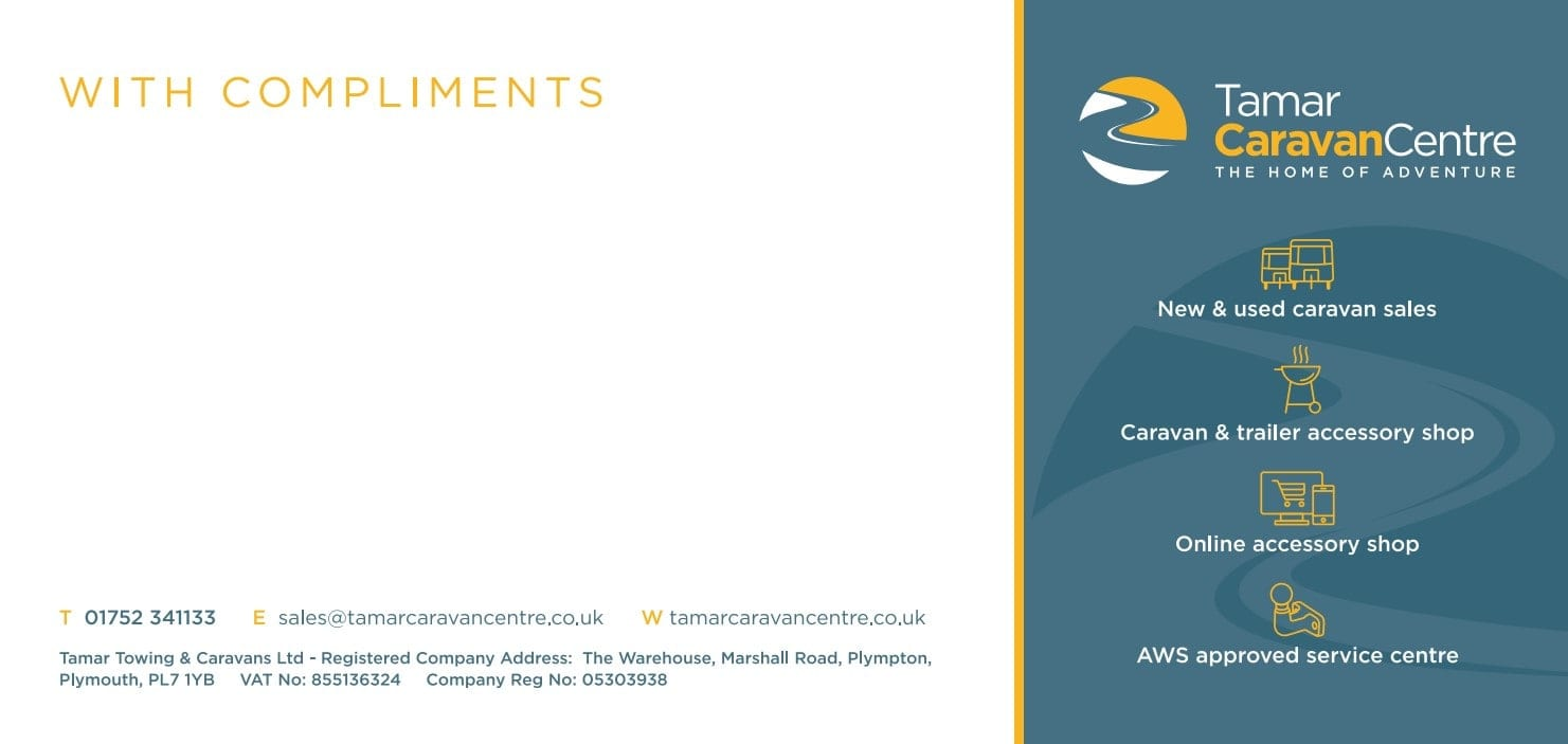 Business Stationery Design Plymouth - Tamar Caravan Centre Compliment Slip - Web Design and SEO Company