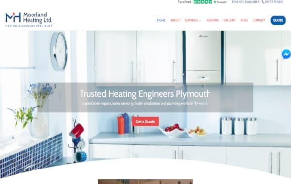 Website Design - An image of the Moorland Heating website homepage - Web Design and SEO Company