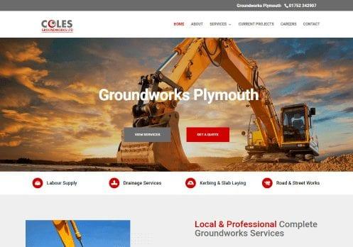 Recent work web design development - Coles Groundworks - new website home page