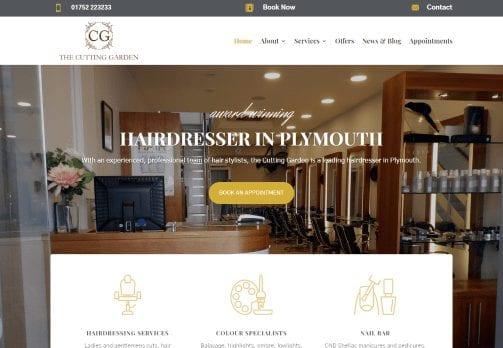 Recent work web design development - Cutting Garden Hair - Plymouth - new website home page