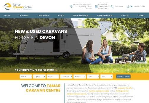 Recent work web design development - Tamar Caravan Centre - website home page