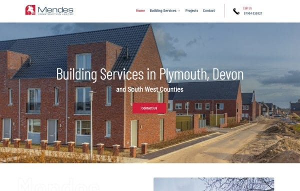 Website Design and Development - An image of the Mendes Construction homepage - Web Design and SEO Company