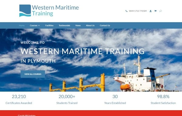 Website Design and Development - An image of the Western Maritime Training homepage - Web Design and SEO Company